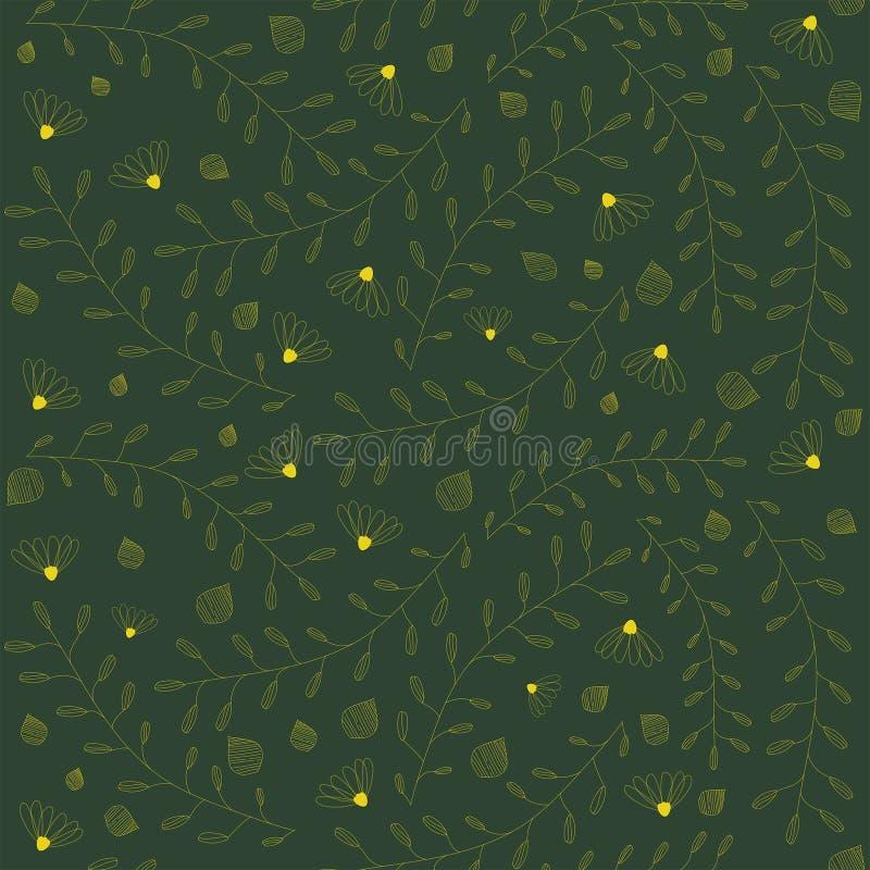 Διανυσματικό άνευ ραφής floral σχέδιο στο πράσινο υπόβαθρο Λουλούδια, κλάδοι, φύλλα, μικρή σύσταση στοιχείων απεικόνιση αποθεμάτων