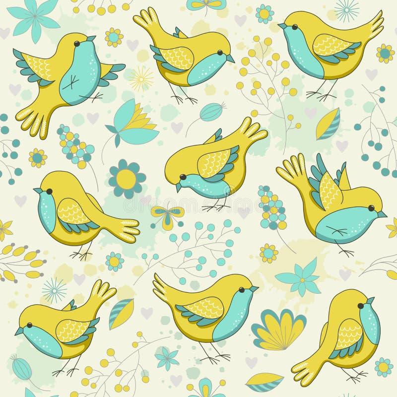 Διανυσματικό άνευ ραφής floral σχέδιο με τα πουλιά διανυσματική απεικόνιση