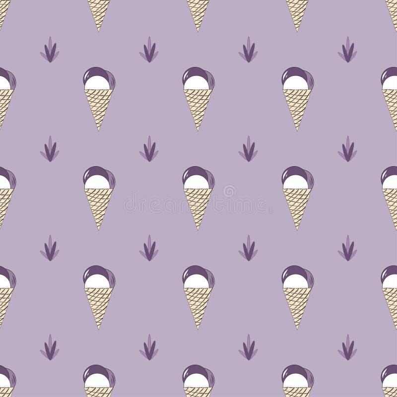 Διανυσματικό άνευ ραφής Lavender σχεδίων παγωτό στο ύφος της Προβηγκίας διανυσματική απεικόνιση