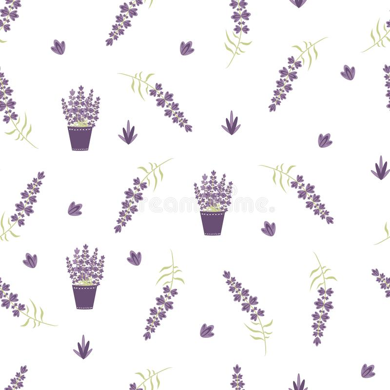 Διανυσματικό άνευ ραφής Lavender σχεδίων στο ύφος της Προβηγκίας ελεύθερη απεικόνιση δικαιώματος