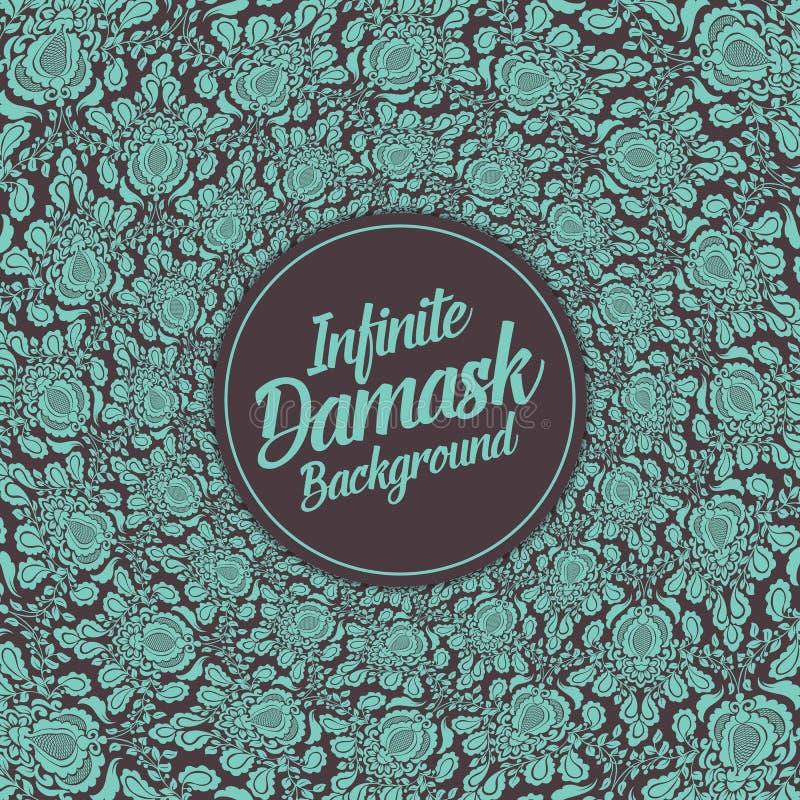 Διανυσματικό άπειρο damask υπόβαθρο απεικόνιση αποθεμάτων