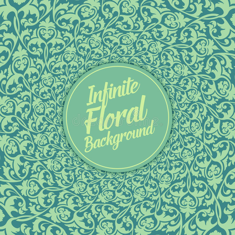 Διανυσματικό άπειρο floral υπόβαθρο Κομψή ντεμοντέ floral διακόσμηση, έξοχο floral πρότυπο διανυσματική απεικόνιση