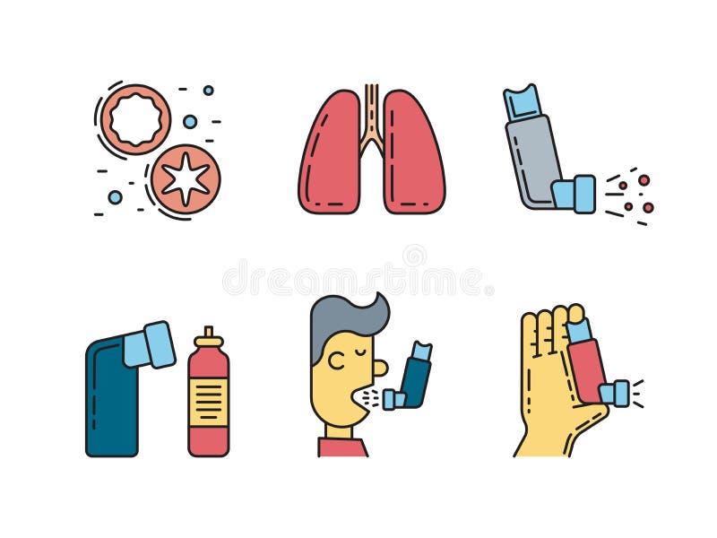 Διανυσματικό άσθμα εικονιδίων διανυσματική απεικόνιση