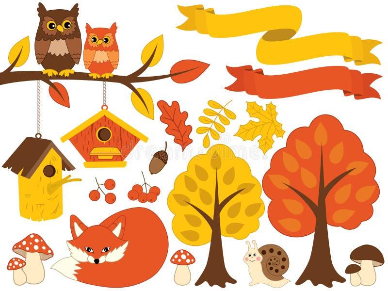 Διανυσματικό δάσος φθινοπώρου που τίθεται με τη χαριτωμένη αρκούδα, κουκουβάγιες, μανιτάρια, Birdhouses Διανυσματικό σύνολο φθινο απεικόνιση αποθεμάτων