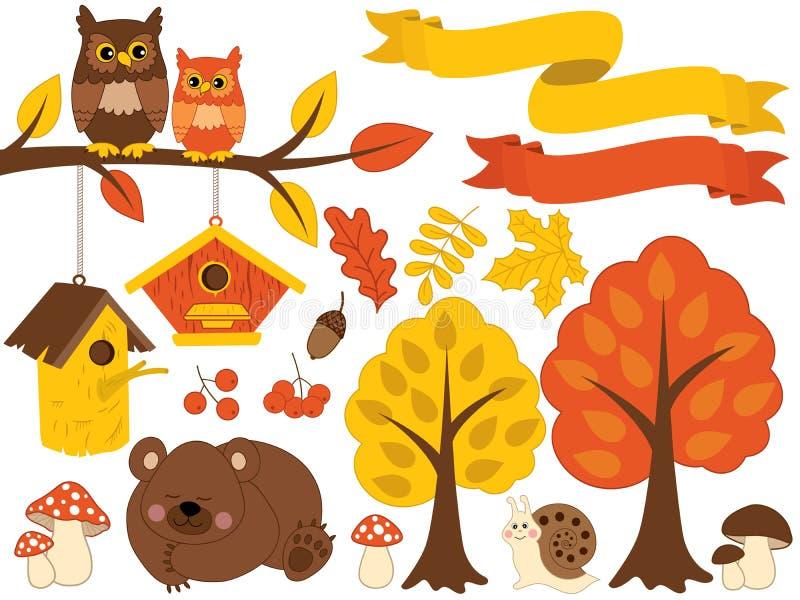 Διανυσματικό δάσος φθινοπώρου που τίθεται με τη χαριτωμένη αλεπού, κουκουβάγιες, μανιτάρια, Birdhouses Διανυσματικό σύνολο φθινοπ απεικόνιση αποθεμάτων