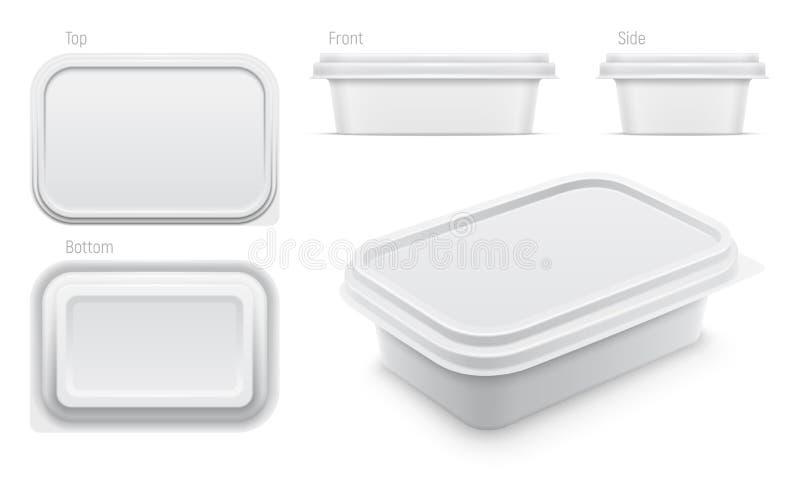 Διανυσματικό άσπρο εμπορευματοκιβώτιο για το βουτύρου, λειωμένο τυρί ή μαργαρίνη που διαδίδεται διανυσματική απεικόνιση