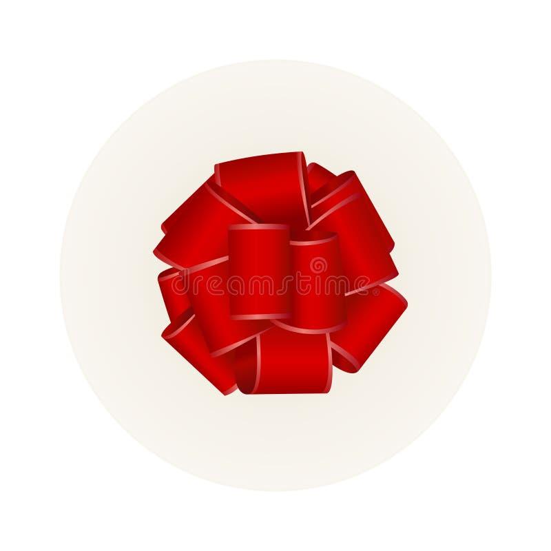 Διανυσματικό άσπρο στρογγυλό κιβώτιο δώρων με το κόκκινες τόξο και την κορδέλλα σατέν ελεύθερη απεικόνιση δικαιώματος
