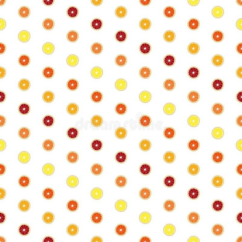 Διανυσματικό άσπρο υπόβαθρο με τις ζωηρόχρωμες πορτοκαλιές φέτες Άνευ ραφής σύσταση διανυσματική απεικόνιση