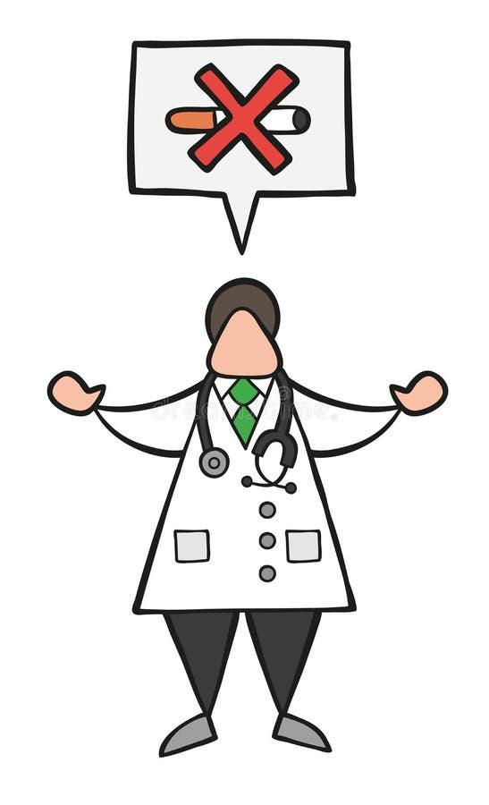 Διανυσματικό άτομο γιατρών κινούμενων σχεδίων με τη λεκτικά φυσαλίδα και το ρητό κανενός smoki διανυσματική απεικόνιση