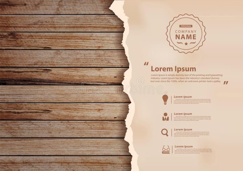 Διανυσματικό έγγραφο grunge για τον ξύλινο τοίχο ελεύθερη απεικόνιση δικαιώματος