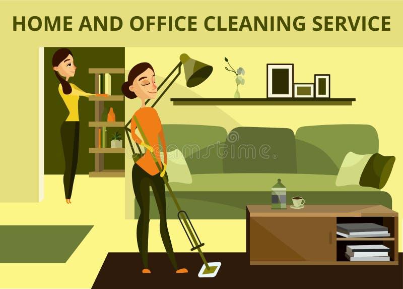 Διανυσματικό έμβλημα έννοιας υπηρεσιών σπιτιών και γραφείων καθαρίζοντας ελεύθερη απεικόνιση δικαιώματος