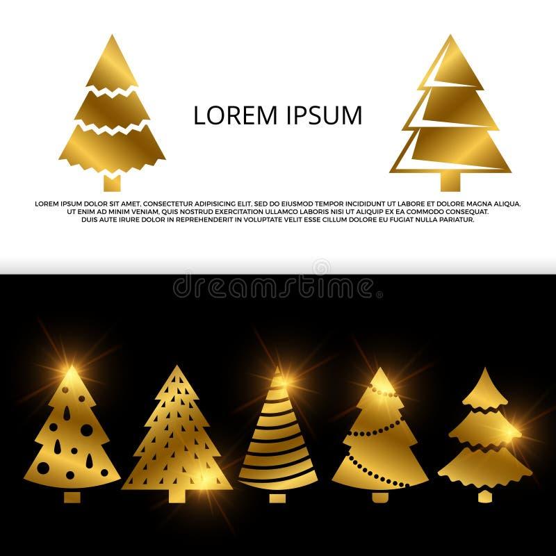 Διανυσματικό έμβλημα ή ιπτάμενο με τα χρυσά εικονίδια χριστουγεννιάτικων δέντρων διανυσματική απεικόνιση