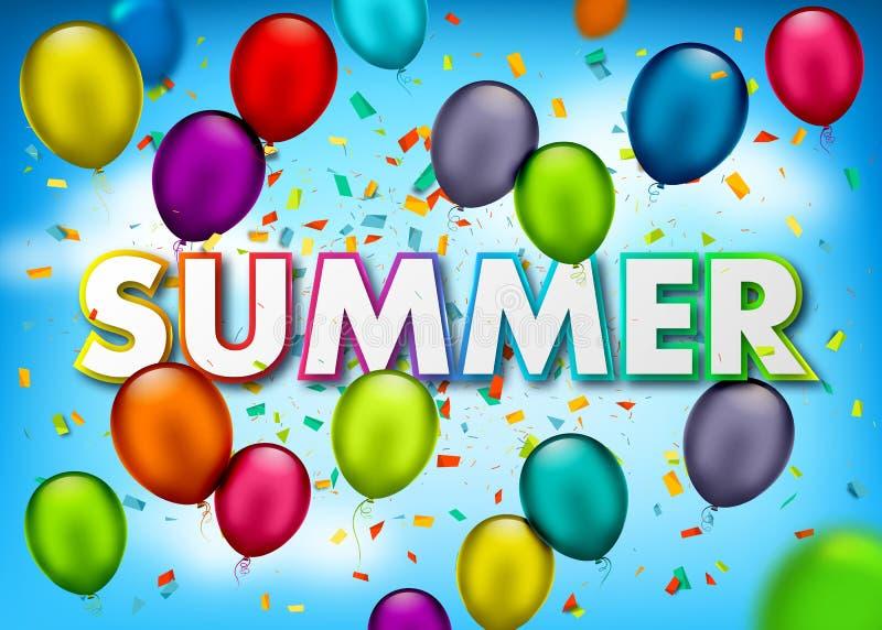 Διανυσματικό έμβλημα διακοπών με το κομφετί, πολύχρωμα μπαλόνια αέρα στο υπόβαθρο ουρανού Φωτεινές θερινές διακοπές ευχετήριων κα ελεύθερη απεικόνιση δικαιώματος
