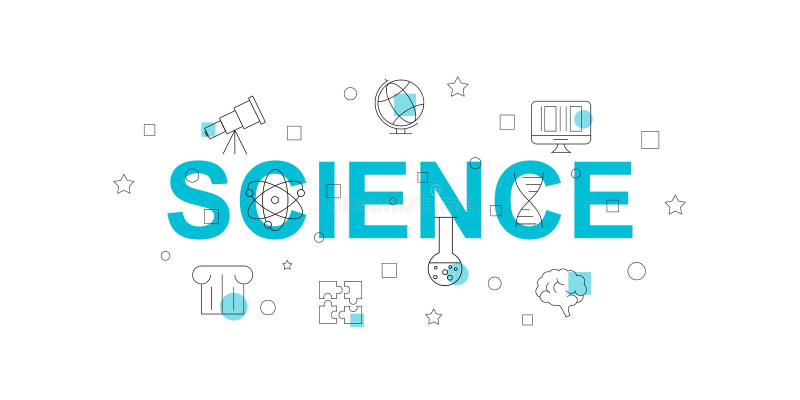 Διανυσματικό έμβλημα επιστήμης Λέξη με το εικονίδιο γραμμών απεικόνιση αποθεμάτων
