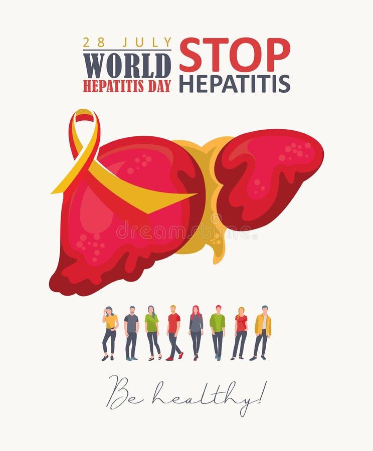 Διανυσματικό έμβλημα ημέρας παγκόσμιας ηπατίτιδας στο σύγχρονο επίπεδο σχέδιο στο άσπρο υπόβαθρο 28 Ιουλίου απεικόνιση αποθεμάτων