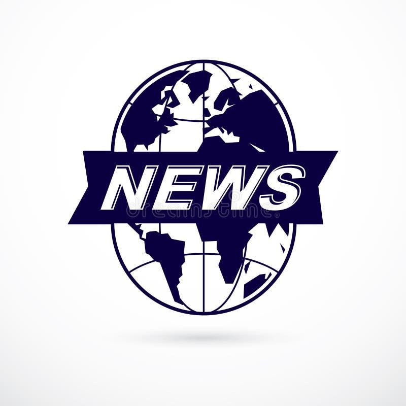 Διανυσματικό έμβλημα θέματος δημοσιογραφίας που δημιουργείται με την απεικόνιση και τις ειδήσεις γήινων πλανητών που γράφουν, διανυσματική απεικόνιση