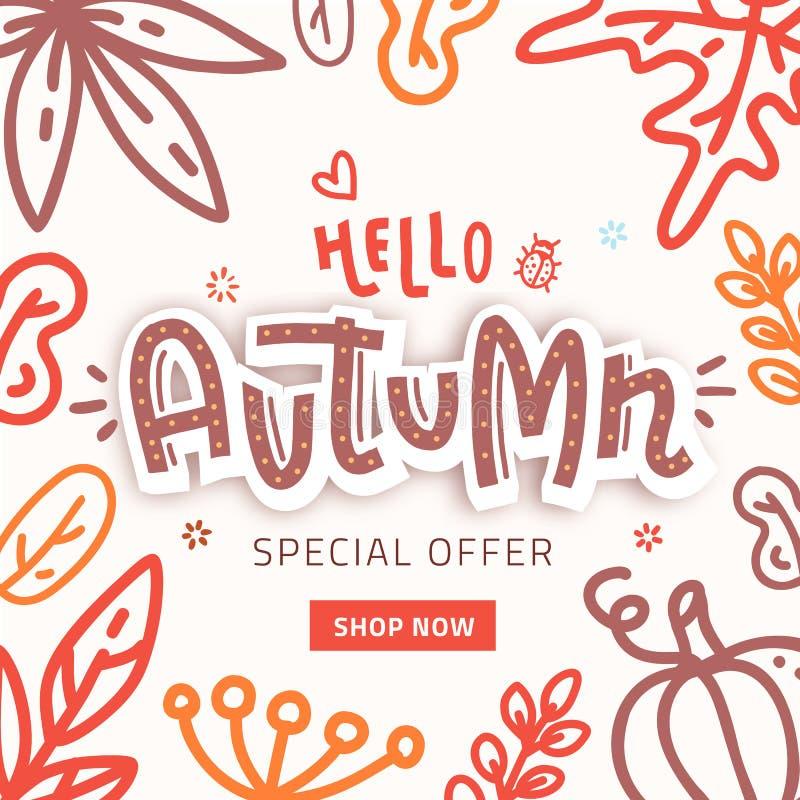 Διανυσματικό έμβλημα κειμένων πώλησης φθινοπώρου με τα ζωηρόχρωμα εποχιακά φύλλα πτώσης στο πορτοκαλί υπόβαθρο για την προώθηση έ διανυσματική απεικόνιση