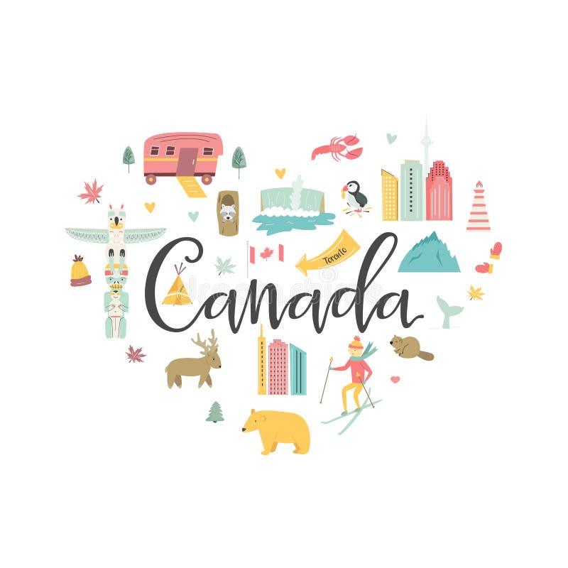 Διανυσματικό έμβλημα κινούμενων σχεδίων του Καναδά Απεικόνιση ταξιδιού διανυσματική απεικόνιση