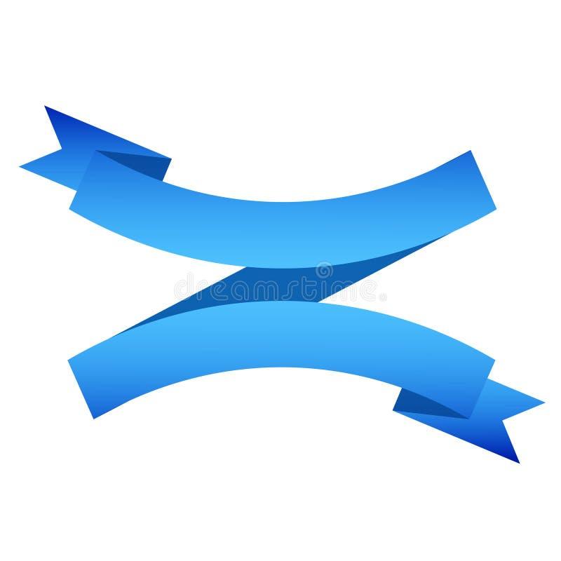 Διανυσματικό έμβλημα κορδελλών που απομονώνεται οριζόντια στο άσπρο υπόβαθρο, απεικόνιση της μπλε ταινίας ελεύθερη απεικόνιση δικαιώματος