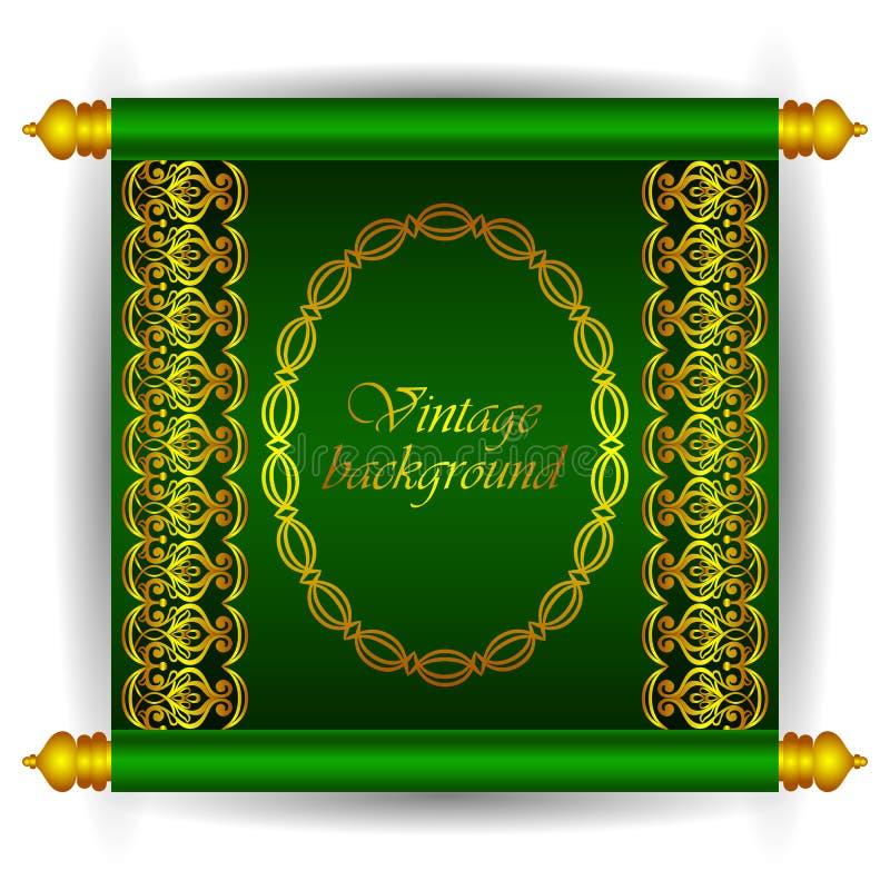 Διανυσματικό έμβλημα κυλίνδρων στο βασιλικό μαροκινό αραβικό ύφος πολυτέλειας Χρυσά floral σχέδια κορδελλών σε ένα πράσινο υπόβαθ απεικόνιση αποθεμάτων