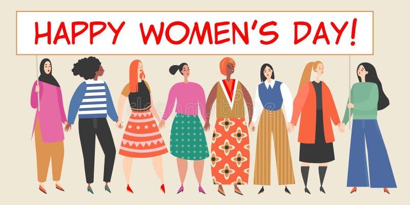 Διανυσματικό έμβλημα με μια ομάδα γυναικών που κρατούν μια μεγάλη αφίσσα με τα συγχαρητήρια στην ημέρα των διεθνών γυναικών απεικόνιση αποθεμάτων