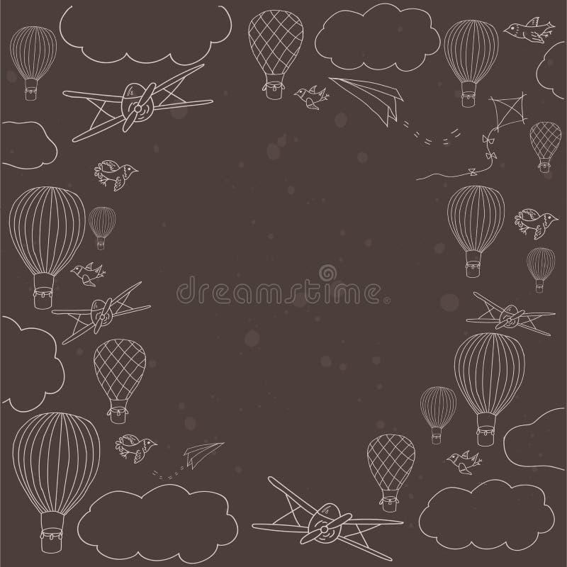 Διανυσματικό έμβλημα με το ζεστό αέρα baloons που πετά στον ουρανό απεικόνιση αποθεμάτων