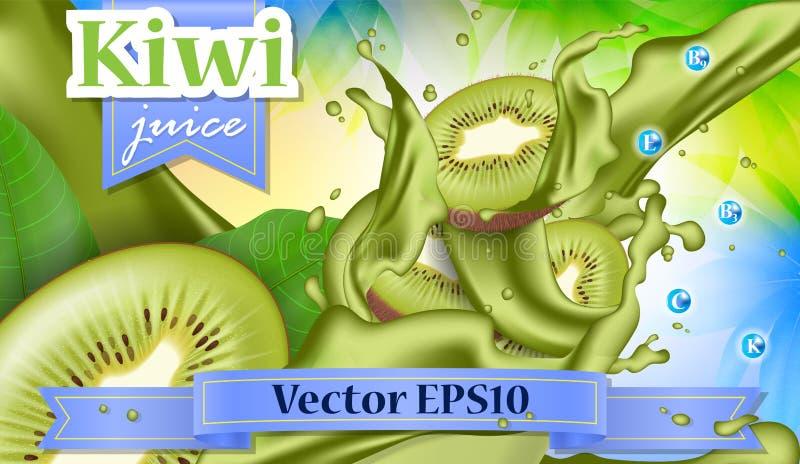 Διανυσματικό έμβλημα προώθησης αγγελιών τρισδιάστατο, ρεαλιστικά φρούτα ακτινίδιων που καταβρέχει το W απεικόνιση αποθεμάτων