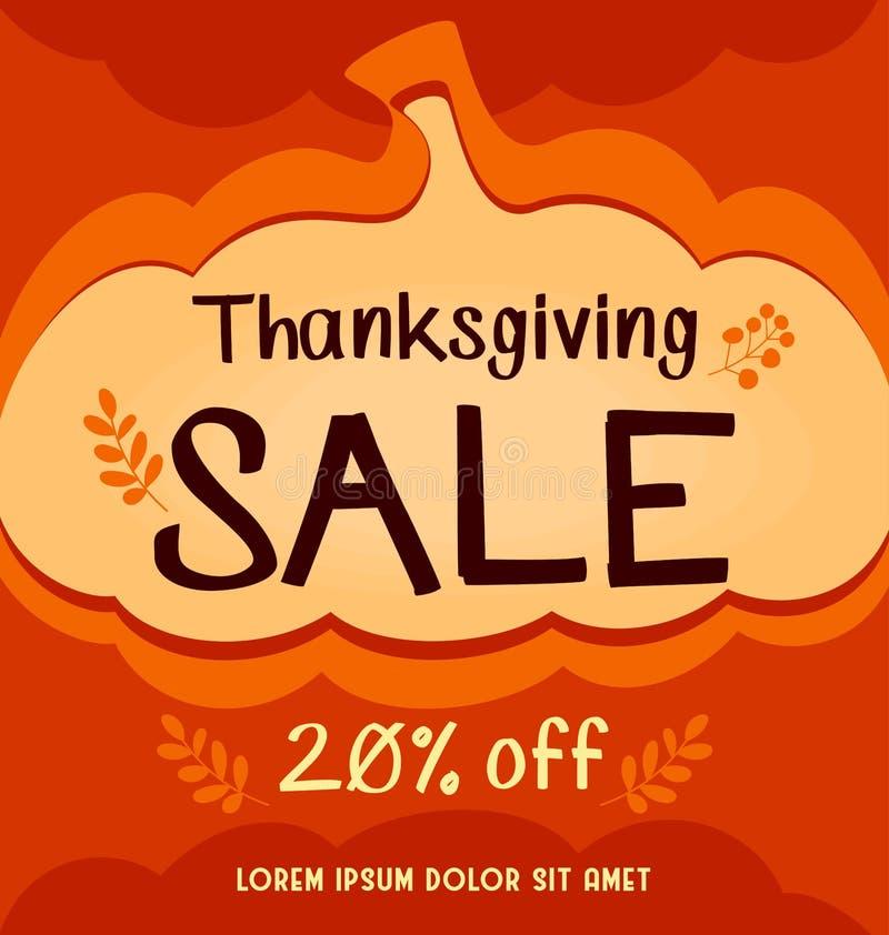 Διανυσματικό έμβλημα πώλησης μέσων ημέρας των ευχαριστιών κοινωνικό στο πορτοκαλί αφηρημένο υπόβαθρο κολοκύθας φθινοπώρου απεικόνιση αποθεμάτων