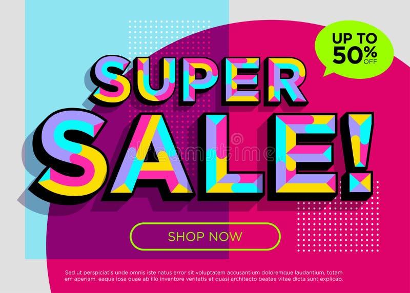 Διανυσματικό έμβλημα πώλησης Σαββατοκύριακου έξοχο Φωτεινή ζωηρόχρωμη ειδική προσφορά απεικόνιση αποθεμάτων