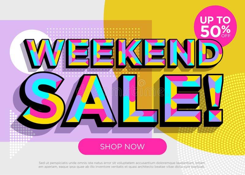 Διανυσματικό έμβλημα πώλησης Σαββατοκύριακου Φωτεινή ζωηρόχρωμη ειδική προσφορά απεικόνιση αποθεμάτων