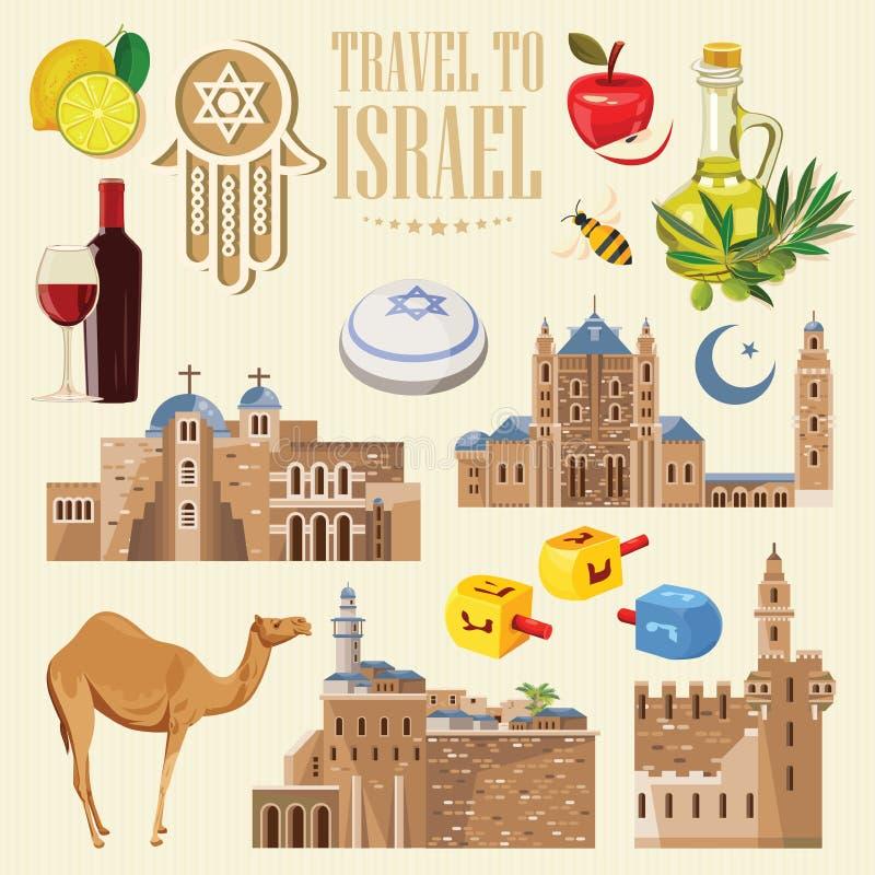 Διανυσματικό έμβλημα του Ισραήλ με τα εβραϊκά ορόσημα Σύνολο παραδοσιακών εικονιδίων του Ισραήλ στο ελαφρύ υπόβαθρο διανυσματική απεικόνιση