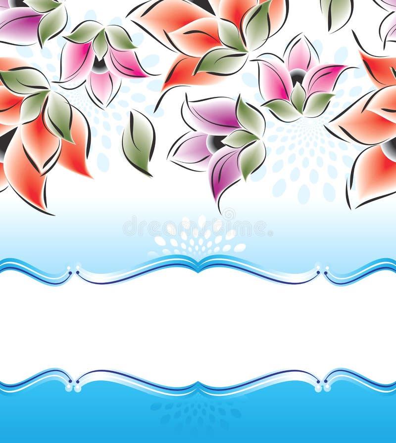 Διανυσματικό έμβλημα των φανταχτερών λουλουδιών ελεύθερη απεικόνιση δικαιώματος
