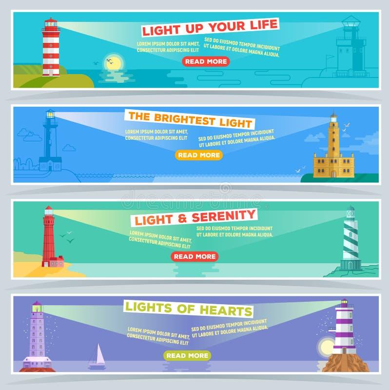 Διανυσματικό έμβλημα φάρων, ο αναπτήρας αναγνωριστικών σημάτων θάλασσας για την ακτινοβολώντας πορεία σκαφών του φωτισμού από το  ελεύθερη απεικόνιση δικαιώματος