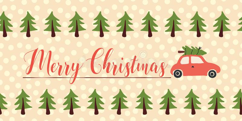 Διανυσματικό έμβλημα χαιρετισμών Χριστουγέννων άνευ ραφής Κόκκινο αυτοκίνητο με το χριστουγεννιάτικο δέντρο στη στέγη Χαρούμενα Χ απεικόνιση αποθεμάτων