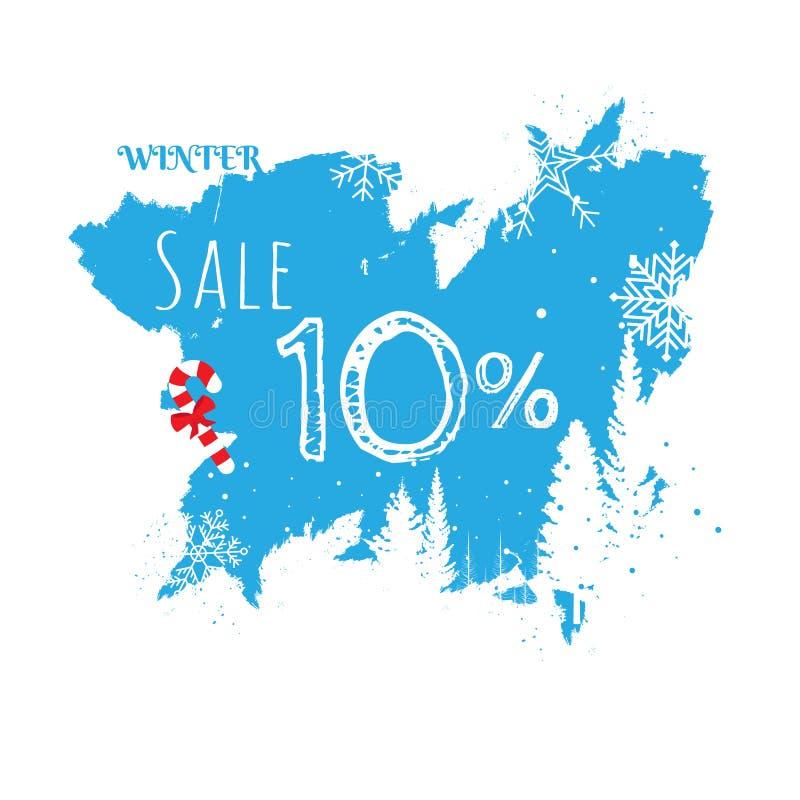 Διανυσματικό έμβλημα χειμερινής πώλησης που τίθεται με την πώληση για εποχιακό διανυσματική απεικόνιση