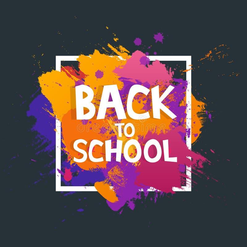Διανυσματικό έμβλημα χρωμάτων βουρτσών τέχνης με την επιγραφή πίσω στο σχολείο Αφηρημένη σύστασης υποβάθρου αφίσα κτυπήματος σχεδ διανυσματική απεικόνιση