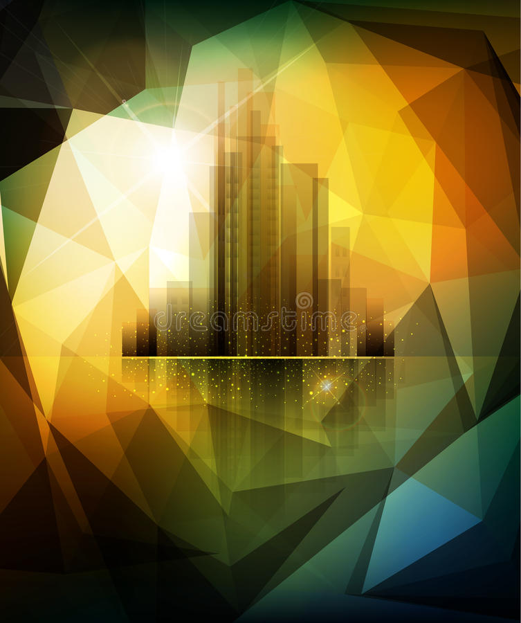 Διανυσματικό έμβλημα για την επιχείρηση με την πόλη και την αντανάκλαση απεικόνιση αποθεμάτων