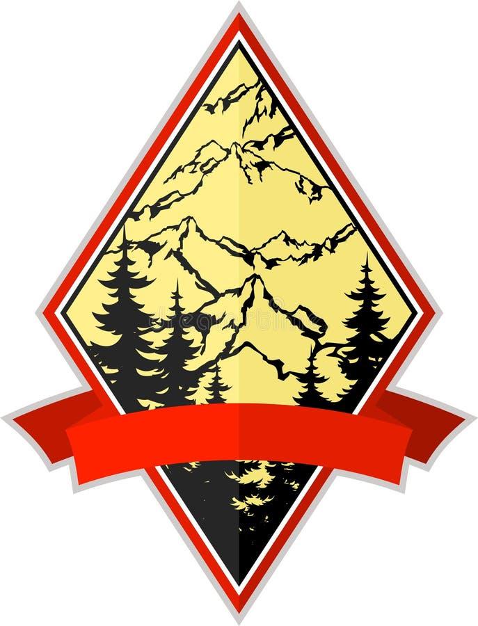 Διανυσματικό έμβλημα λογότυπων αποστολής στρατοπέδευσης περιπέτειας βουνών διανυσματική απεικόνιση