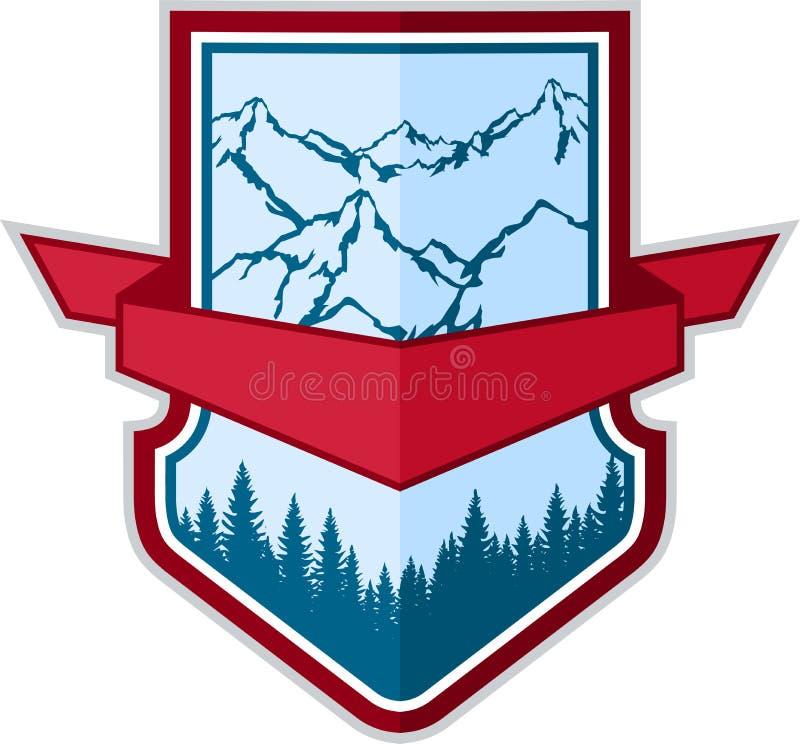 Διανυσματικό έμβλημα λογότυπων στρατοπέδευσης περιπέτειας βουνών ελεύθερη απεικόνιση δικαιώματος