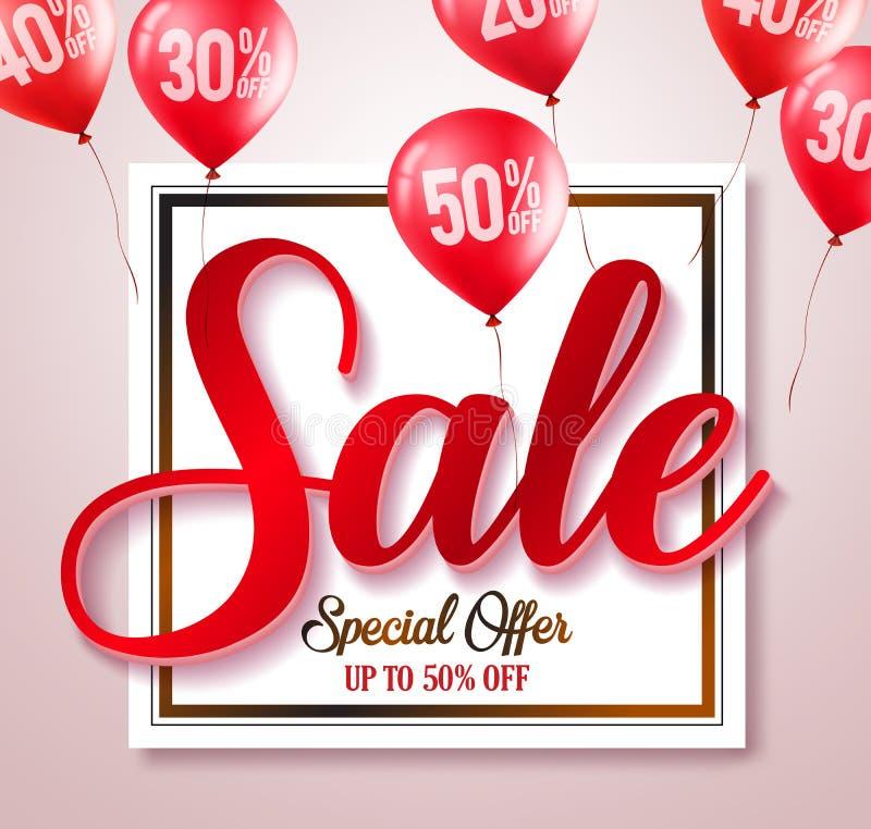 Διανυσματικό έμβλημα τυπογραφίας κειμένων πώλησης με τα τοις εκατό που γράφονται στα κόκκινα μπαλόνια ελεύθερη απεικόνιση δικαιώματος