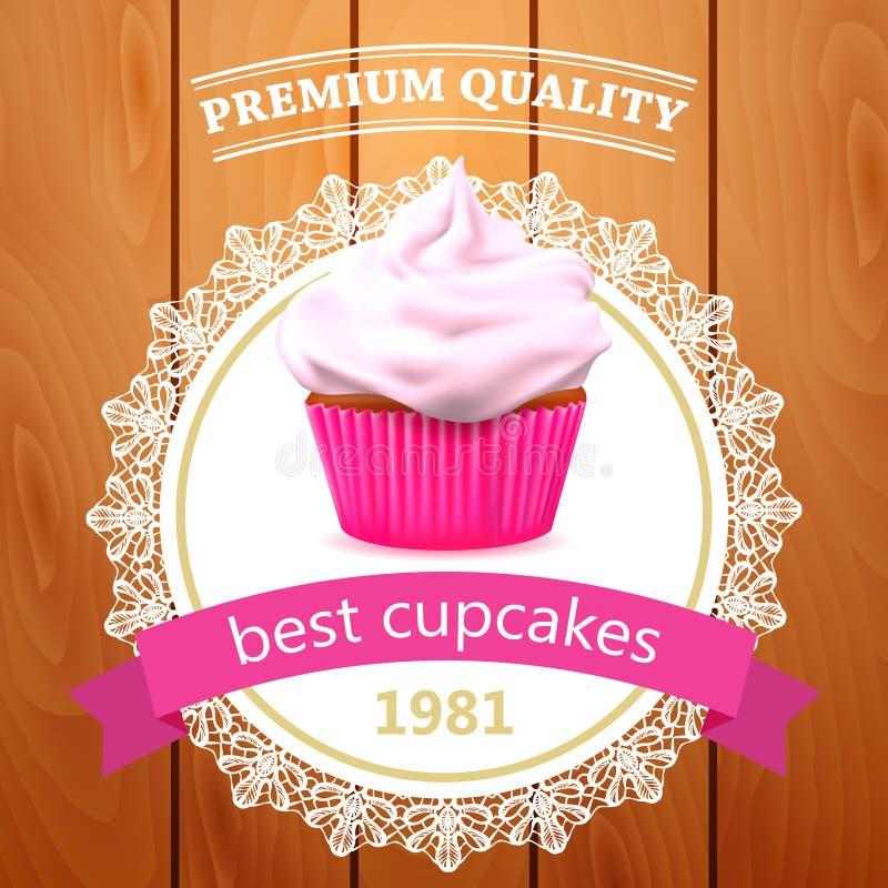 Διανυσματικό έμβλημα cupcake απεικόνιση αποθεμάτων