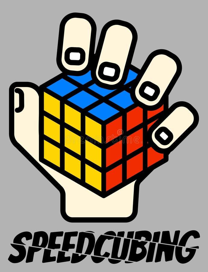 Διανυσματικό ένας-απεικόνιση λογότυπο Speedsolving κύβων Rubik ` s ελεύθερη απεικόνιση δικαιώματος
