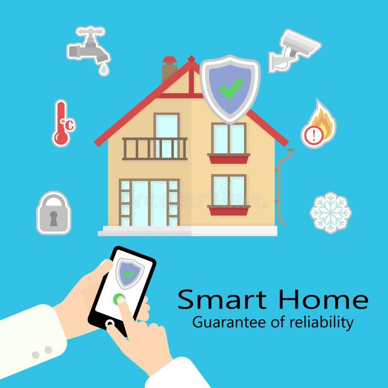 Διανυσματικό έξυπνο σπίτι διανυσματική απεικόνιση