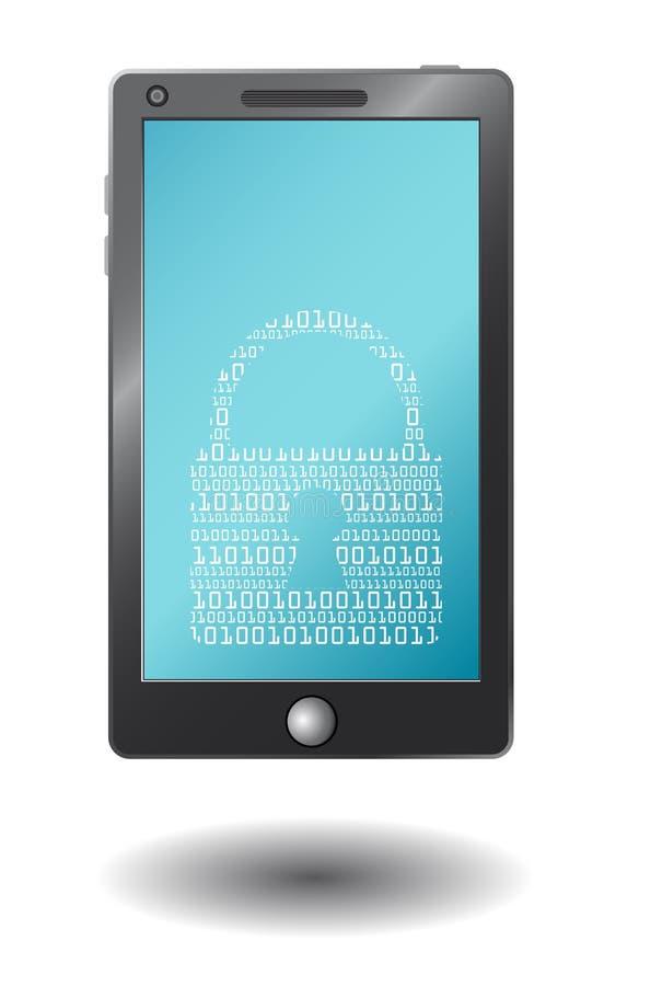 Διανυσματικό έξυπνο τηλέφωνο με το εικονικό λουκέτο, απεικόνιση αποθεμάτων