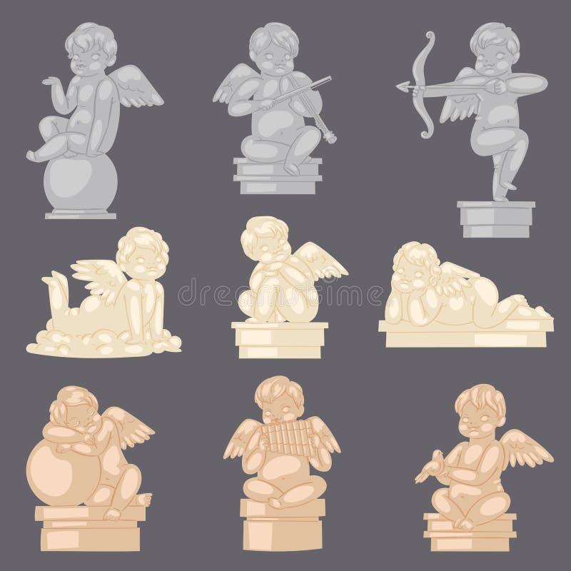 Διανυσματικό αγγελικό γλυπτό cupid αγαλμάτων αγγέλου και καλός χαρακτήρας μωρών με τα φτερά στους βαλεντίνους ή τη ημέρα γάμου διανυσματική απεικόνιση