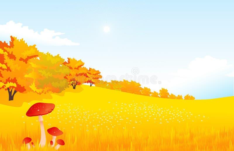 Διανυσματικό αγροτικό τοπίο φθινοπώρου απεικόνισης με ελεύθερη απεικόνιση δικαιώματος