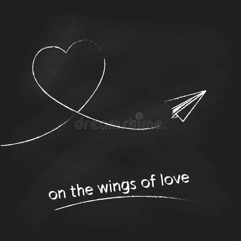 Διανυσματικό αεροπλάνο εγγράφου με τη διαδρομή καρδιών στο μαύρο υπόβαθρο πινάκων κιμωλίας Έννοια για το σχέδιο ημέρας βαλεντίνων απεικόνιση αποθεμάτων