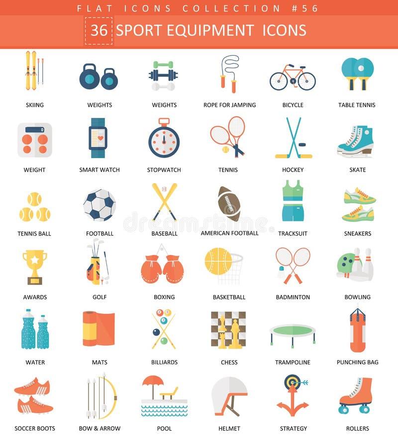 Διανυσματικό αθλητικού εξοπλισμού σύνολο εικονιδίων χρώματος επίπεδο Κομψό εικονίδιο Ιστού αθλητικού εξοπλισμού σχεδίου ύφους απεικόνιση αποθεμάτων