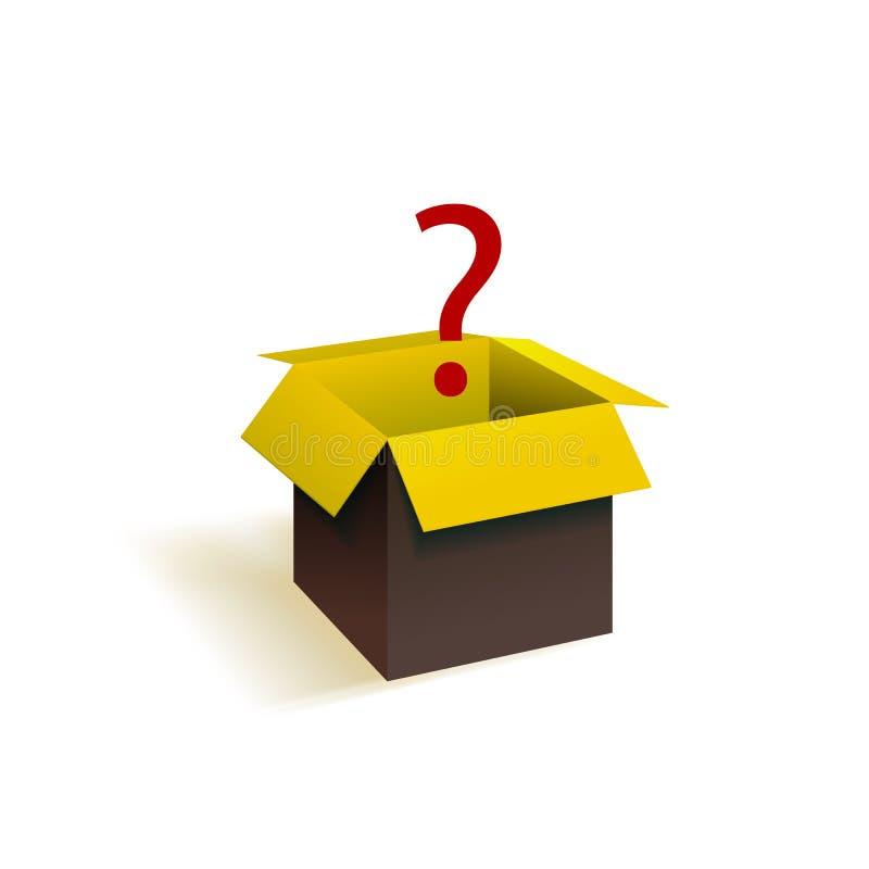 Διανυσματικό αιφνιδιαστικό κιβώτιο, ανοικτή συσκευασία με το ερωτηματικό, μαύρο και κίτρινο αντικείμενο και κόκκινο ζωηρόχρωμο σύ ελεύθερη απεικόνιση δικαιώματος