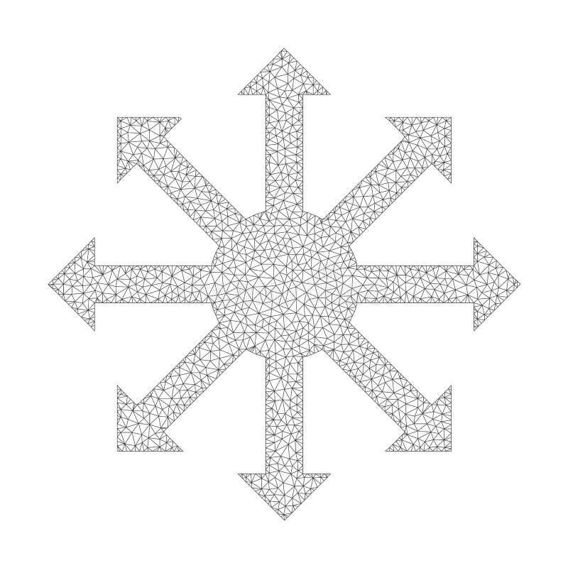 Διανυσματικό ακτινωτό εικονίδιο βελών πλέγματος απεικόνιση αποθεμάτων
